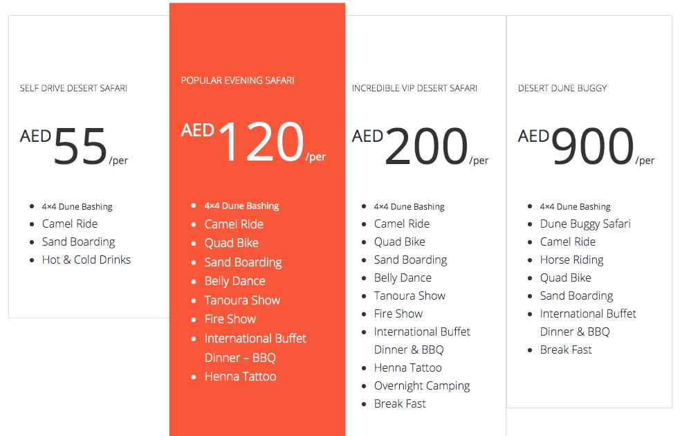 Dubai Desert Safari Packages and Prices